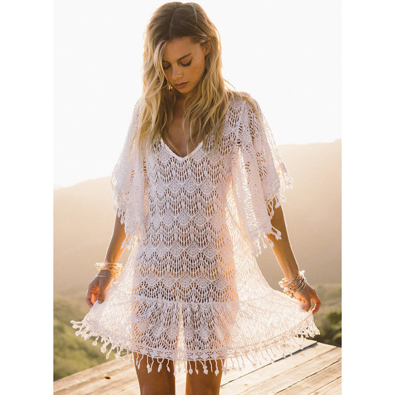Sexy Beach Cover Up White Crochet Tassel Cover Ups OneShopee - OneShopee #1 Best Selling Luxury Cheap Sexy Swimwear Online Store
