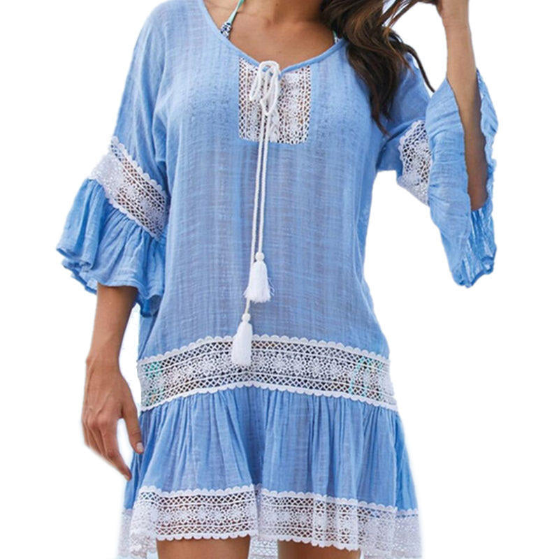 Cotton Tunics Cover Up Pareo Beach Dress Cover Ups OneShopee - OneShopee #1 Best Selling Luxury Cheap Sexy Swimwear Online Store