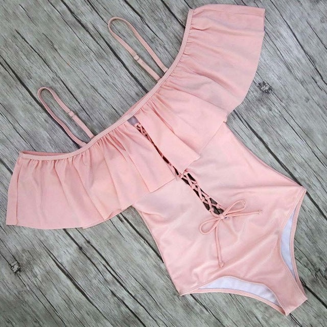 Solid One Piece Swimsuit Ruffle Swimwear Women Swimsuit Push Up Bathing Suits Swimwear OneShopee - OneShopee #1 Best Selling Luxury Cheap Sexy Swimwear Online Store