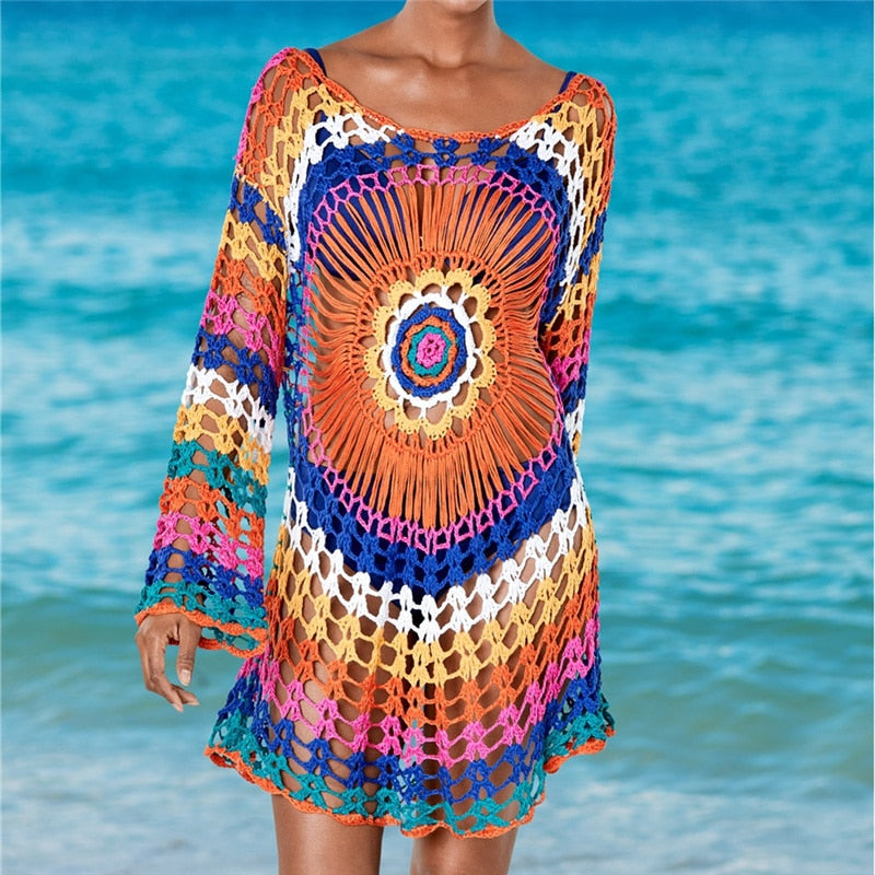 Handmade Knitted Beach Cover Up Tunics Crochet Cover Ups Handmade Knitted OneShopee - OneShopee #1 Best Selling Luxury Cheap Sexy Swimwear Online Store