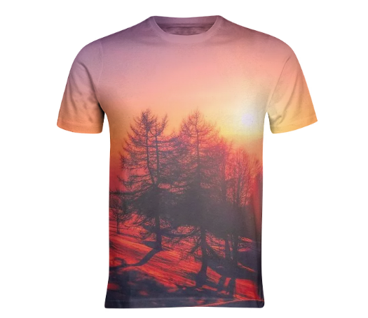 Sunset view on mountain top with trees