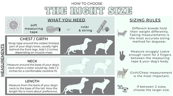 Directions for measuring your dog or cat for clothes