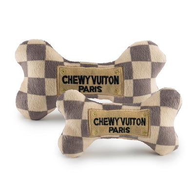 Chewy Vuitton Checker Bone Plush Toy