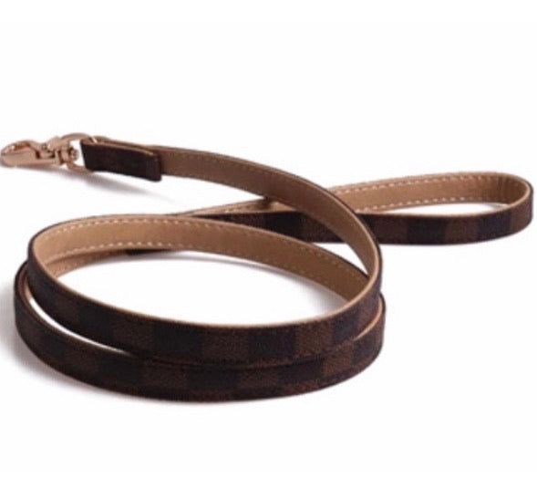 Designer Brown Leather Leash 4'