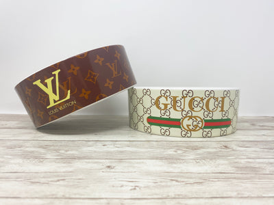 LV Inspired Dog Bowl Brown