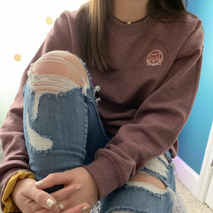 berry embroidered crew neck sweatshirt