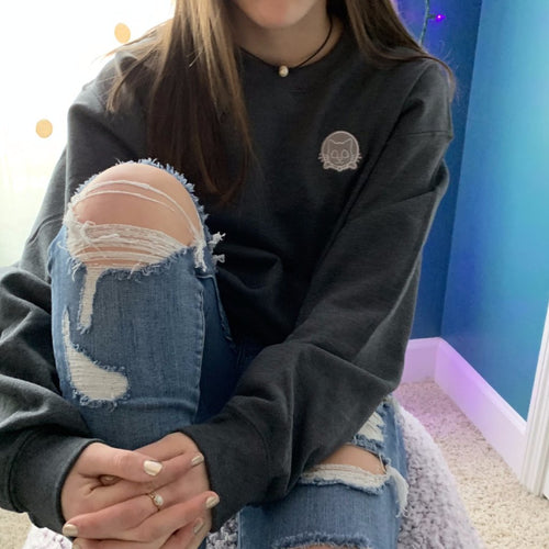 heather embroidered crew neck sweatshirt