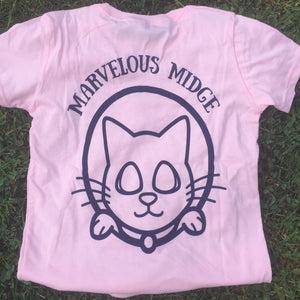 mini midge logo tee in pink & navy