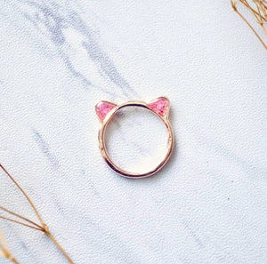 Cat in Rose Gold Real Pressed Flowers Ring