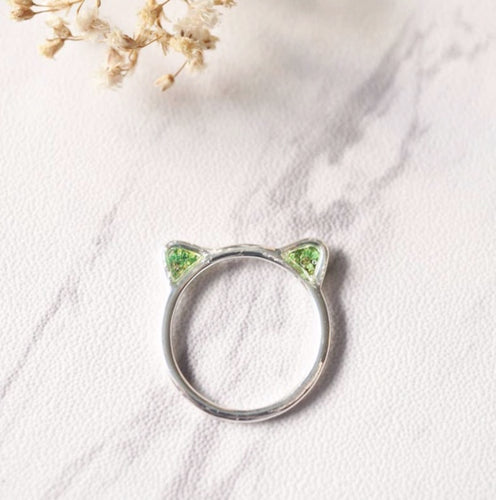 cat in silver pressed flower ring