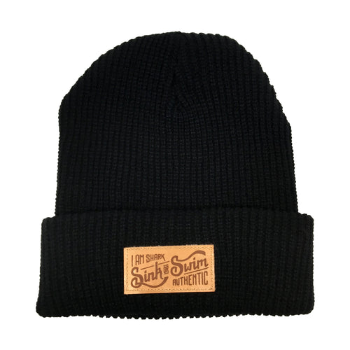Sink Or Swim Cable Knit Beanie (Black)