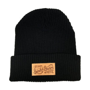 Sink Or Swim Cable Knit Beanie (Black) - Vinyl Soundtrack I Am Shark