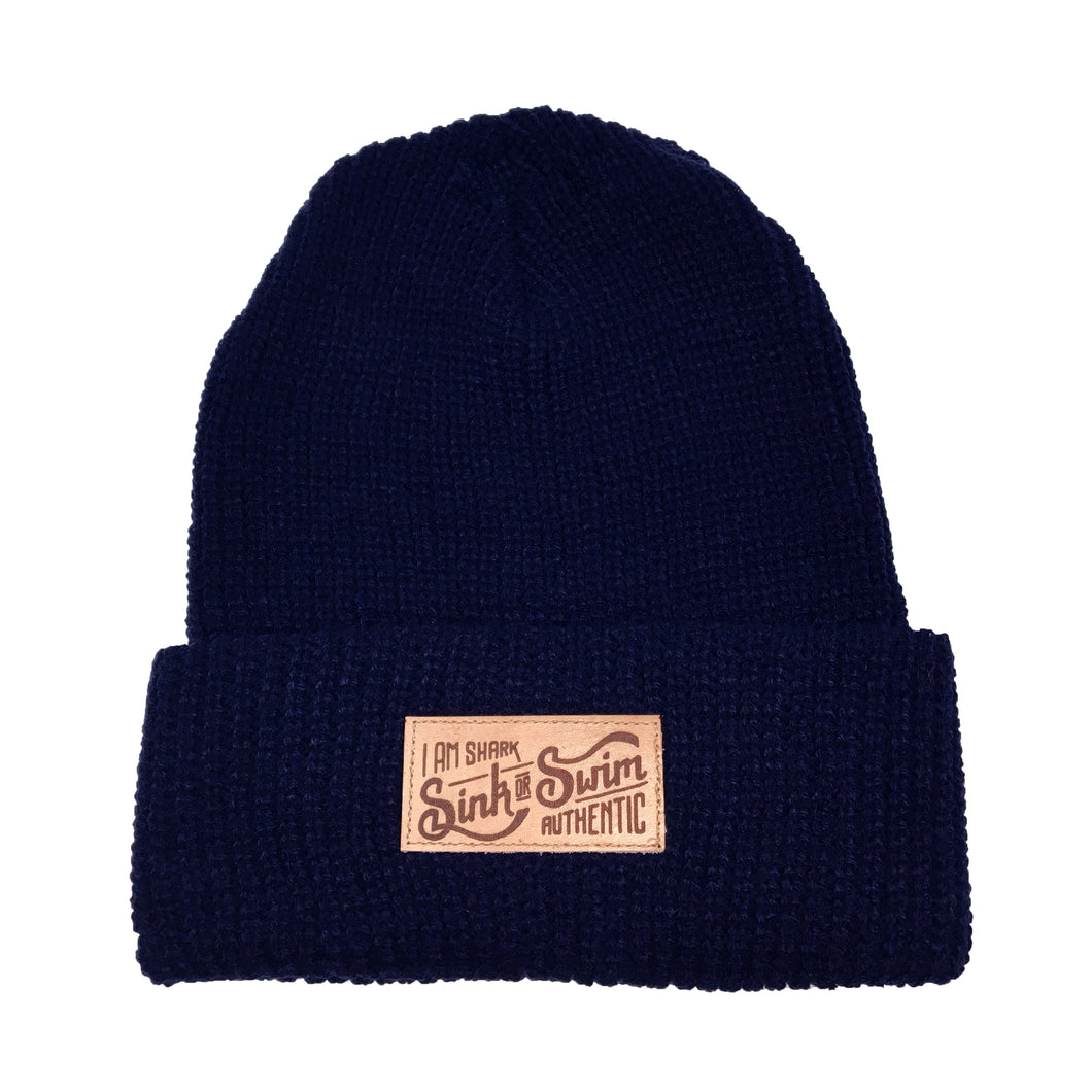 Sink or Swim Cable Knit Beanie (Navy)