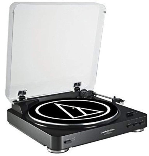 Audio Technica AT-LP60BK-USB Fully Automatic Belt-Drive Stereo Turntable (USB & Analog), Black