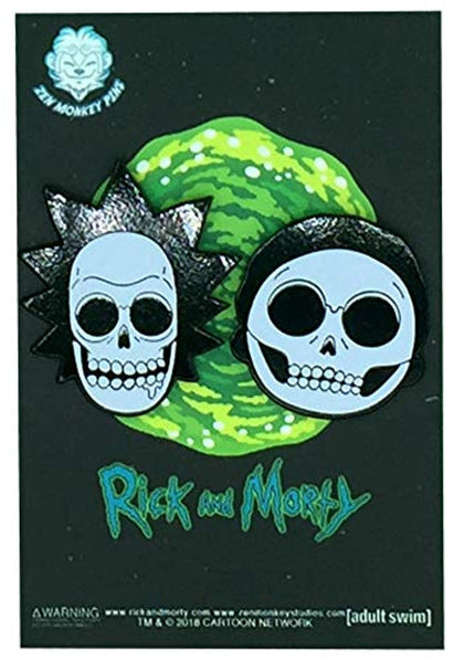 Rick & Morty X-Ray Heads - Glow in the Dark Collectible Enamel Pin Set