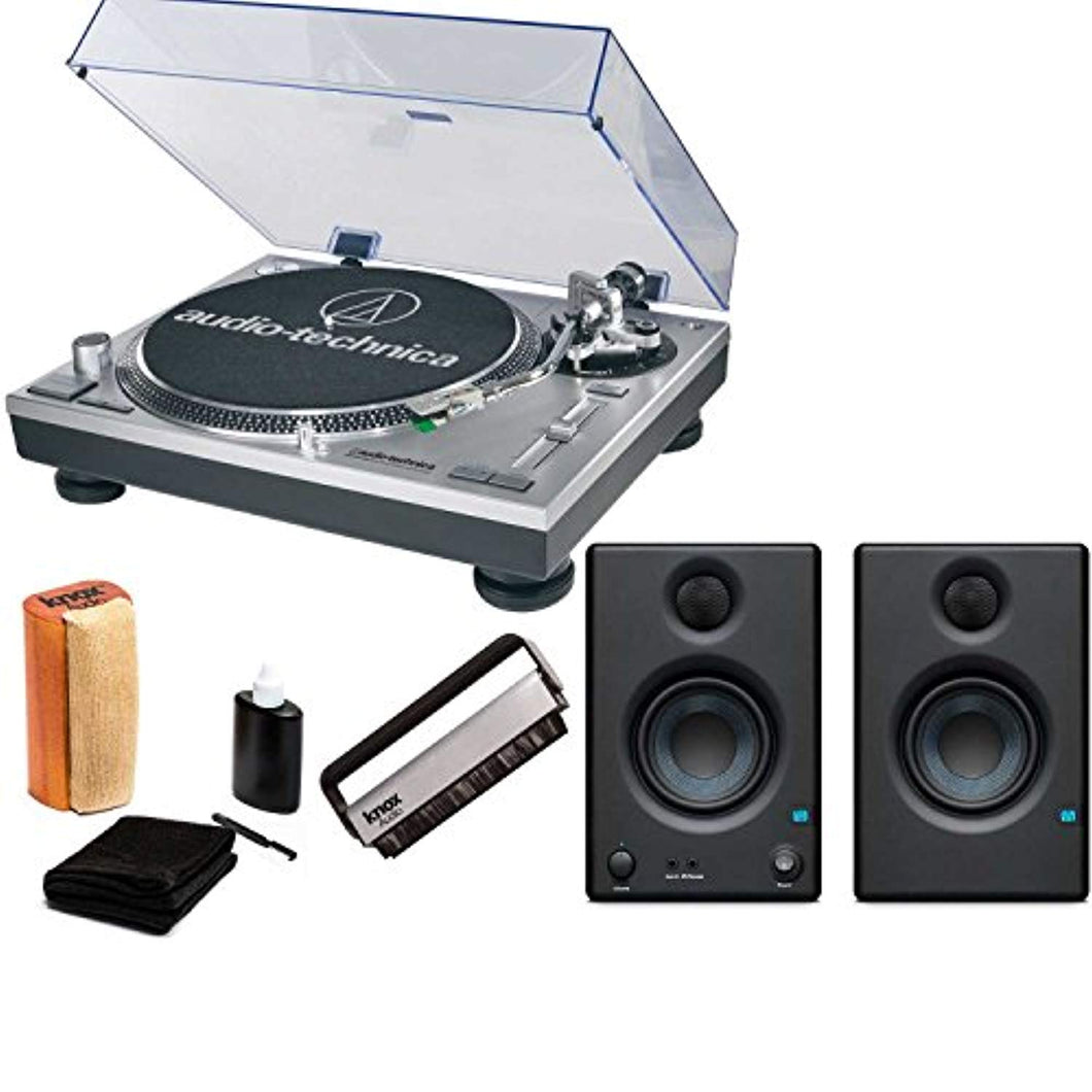 Audio-Technica AT-LP120-USB Turntable with Presonus Eris E3.5 2-Way Studio Monitors & Knox Cleaning Kit - Vinyl Soundtrack I Am Shark