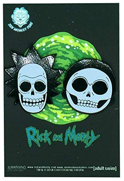 Rick & Morty X-Ray Heads - Glow in the Dark Collectible Enamel Pin Set - Vinyl Soundtrack I Am Shark