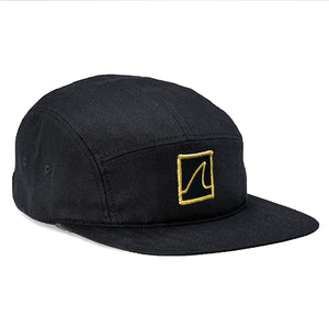 5 Panel 'Gold Fin' Camper Cap (Black)