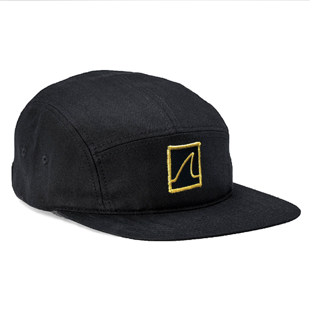 5 Panel 'Gold Fin' Camper Cap (Black) - Vinyl Soundtrack I Am Shark