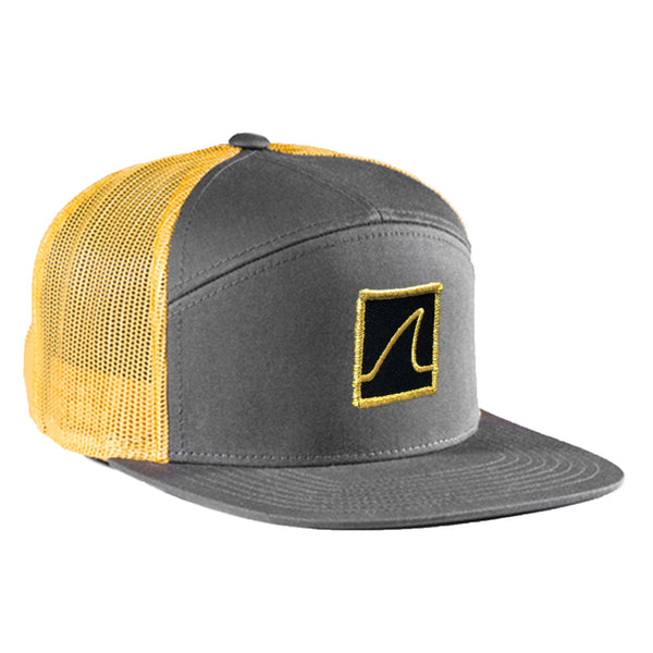 7 Panel 'Gold Fin' Trucker Cap w/ Mesh Back (Charcoal & Gold) - Vinyl Soundtrack I Am Shark