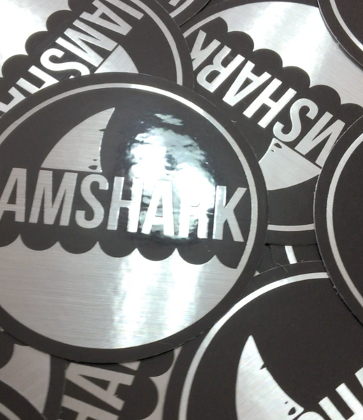 Brushed Metallic Grey - Logo Sticker - Vinyl Soundtrack I Am Shark