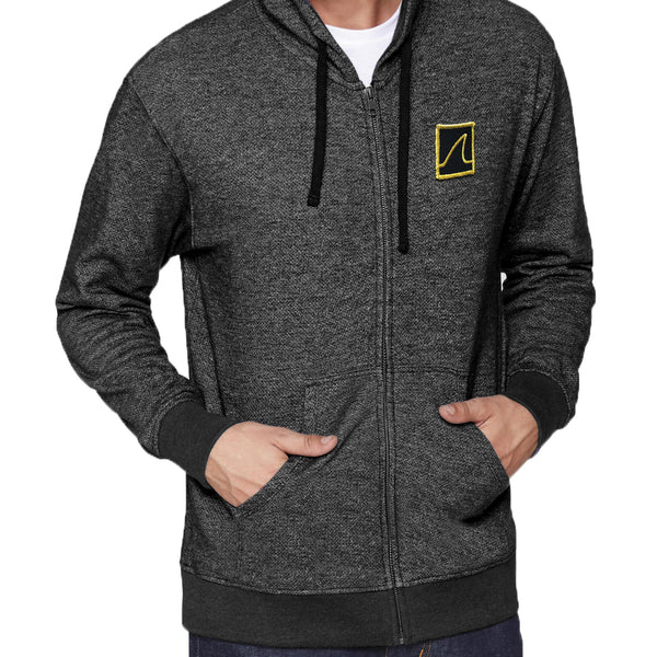 'Gold Fin' Zip-Up Hoodie (Heather Charcoal)