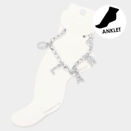 Metal Key Lock Accented Anklet