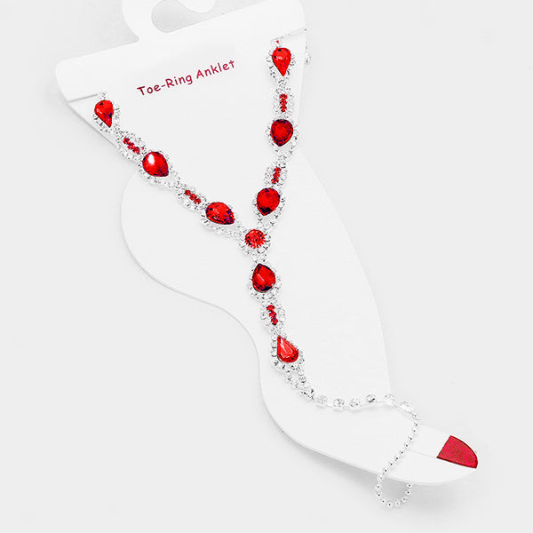 Crystal Rhinestone Pave Teardrop Crystal Toe Ring Anklet