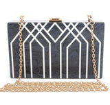 Acrylic Geometric Stripe Clutch Bag