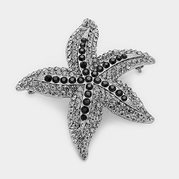 Crystal Rhinestone Starfish Pin Brooch