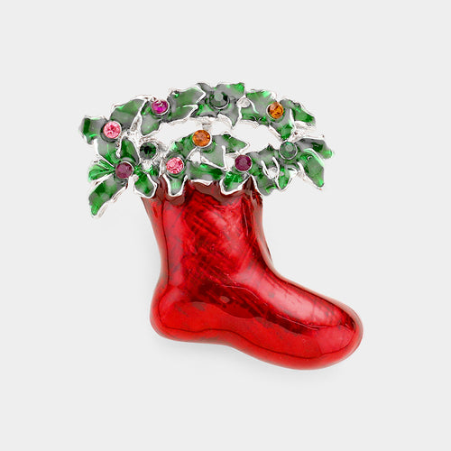 Rhinestone Embellished Enamel Wreath Christmas Socks Pin Brooch