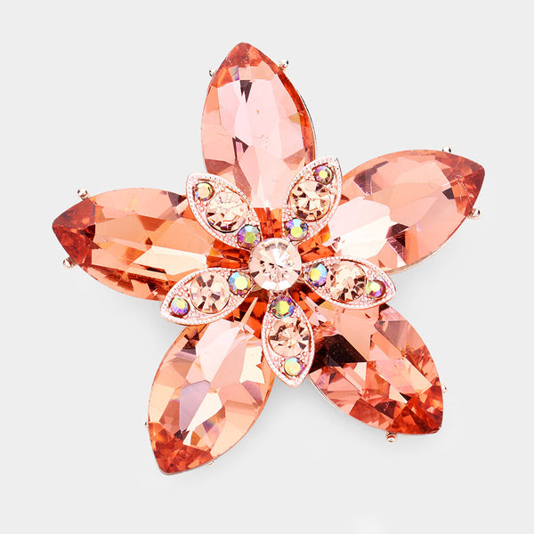 Crystal Marquise Flower Pin Brooch
