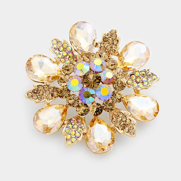 Floral Glass Stone Pin Brooch