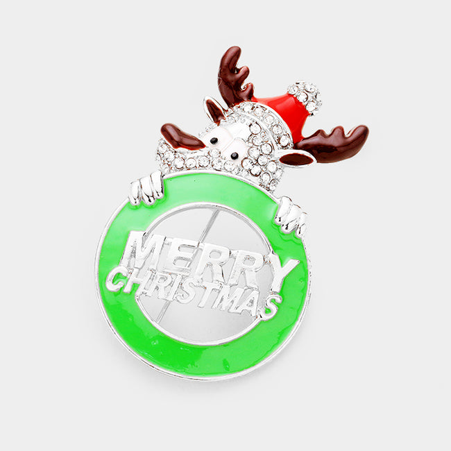 """Merry Christmas"" Crystal Rudolph Pin Brooch / Pendant"