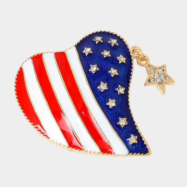 Enamel American Flag Heart Brooch With Crystal Heart Charm