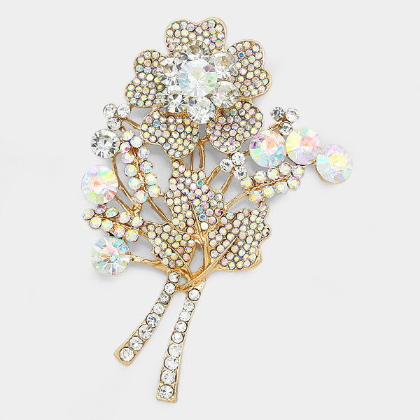 Pave Bouquet Pin Brooch
