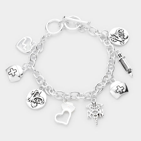 Metal Ball Charm Toggle Bracelet