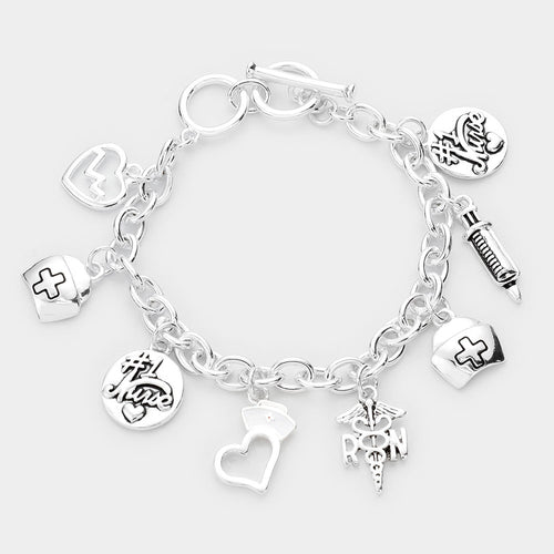 Metal Nurse Charm Toggle Bracelet