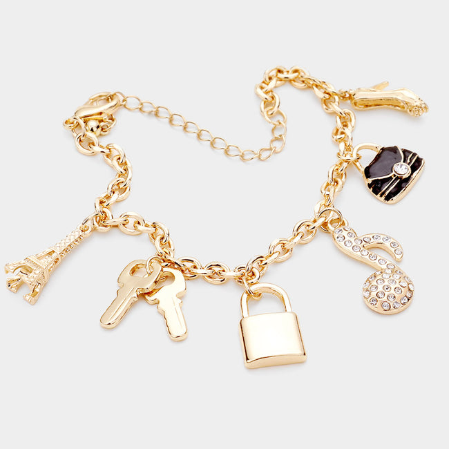 Rhinestone Embellished Note Metal Key Lock Charm Station Bracelet