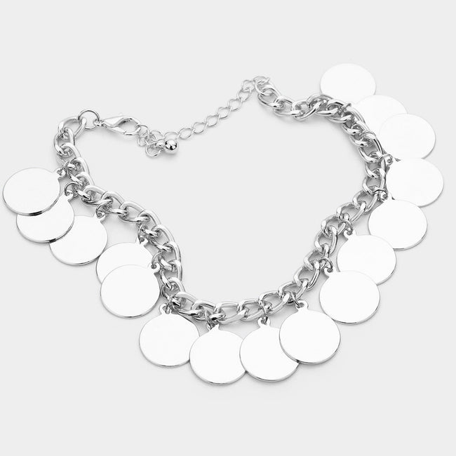 Metal Disc Charm Station Bracelet