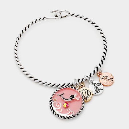 Christmas Message Snowmen Charm Stretch Bracelet