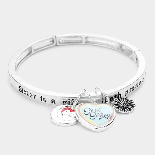 Sister Is A Gift, Both Precious And Rare...message Charm Stretch Bracelet