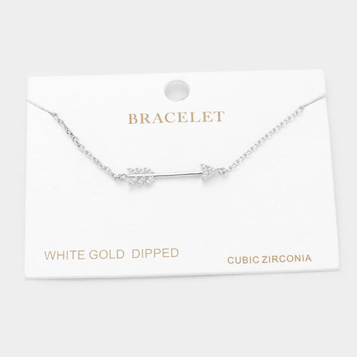 White Gold Dipped Cz Arrow Charm Bracelet