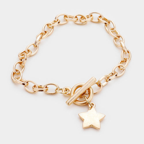 Star Charm Chain Metal Toggle Bracelet