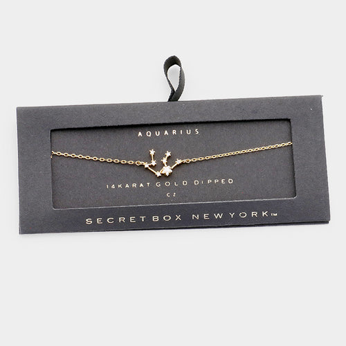 Secret Box _ 14k Gold Cz Zodiac Sign Aquarius Charm Bracelet