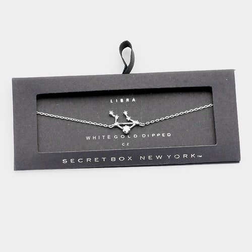 Secret Box _ White Gold Cz Zodiac Sign Libra Charm Bracelet