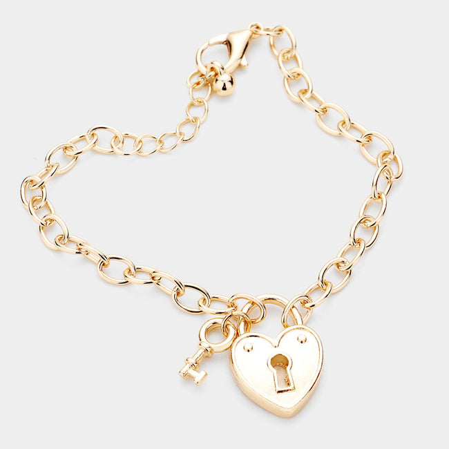 Metal Key Heart Lock Charm Bracelet