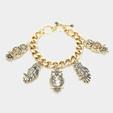 Multi Owl Charm Toggle Bracelet