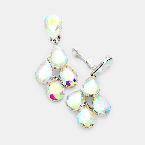Crystal Teardrop Cluster Clip On Earrings