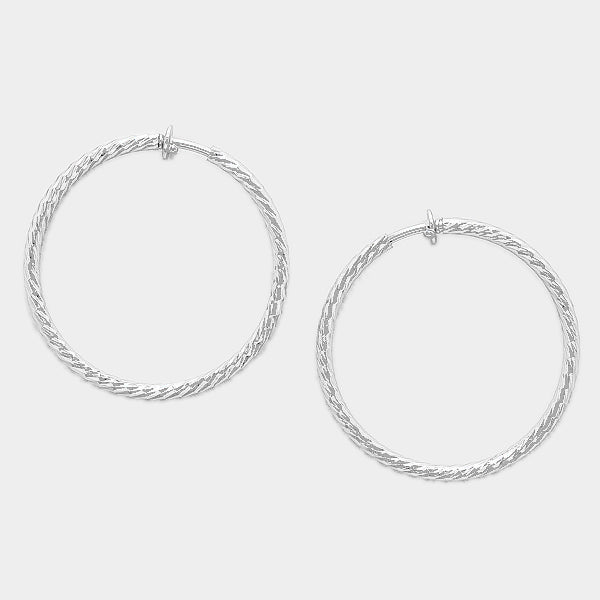 Hypoallergenic Metal Hoop Clip On Earrings
